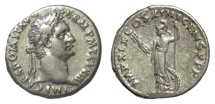 Ancient Coins - Domitian. AR denarius, Rome mint. Struck AD 88-89. Minerva w. thunderbolt & scepter