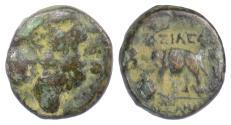 Ancient Coins - SELEUKID KINGS, Alexander I Balas. AE denom C. Antioch, 152-145 BC. Dionysos / Elephant