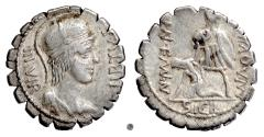 Ancient Coins - Roman Republic, Mn. Aquillius. AR serrate denarius, Rome mint, 65 BC. Virtus / Warrior raising Sicily