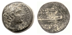 Ancient Coins - SELEUKID KINGS, Demetrios I Soter. AE denomination B, Tyre mint, SE 159 (154/3 BC)