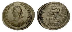 Ancient Coins - Constantine II. AE follis, London mint, struck 321 AD. Globe set on altar