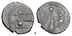 Ancient Coins - Imperatorial Rome/Triumvirs, Mark Antony. AR quinarius, military mint, 43 BC. Priestly implements / Victory