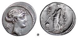 Ancient Coins - Roman Republic, Q. Pomponius Musa.  AR denarius, Rome mint, 56 BC.  Urania, the Muse of Astronomy