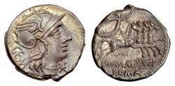 Ancient Coins - Roman Republic. AR denarius, M. Aburius M.f. Geminus, Rome mint, 132 BC