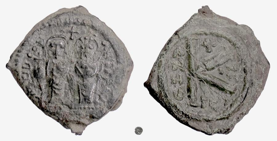 Ancient Coins - BYZANTINE, Tiberius II Constantine, with Anastasia. AE Half Follis, Thessalonica, 581/2 AD