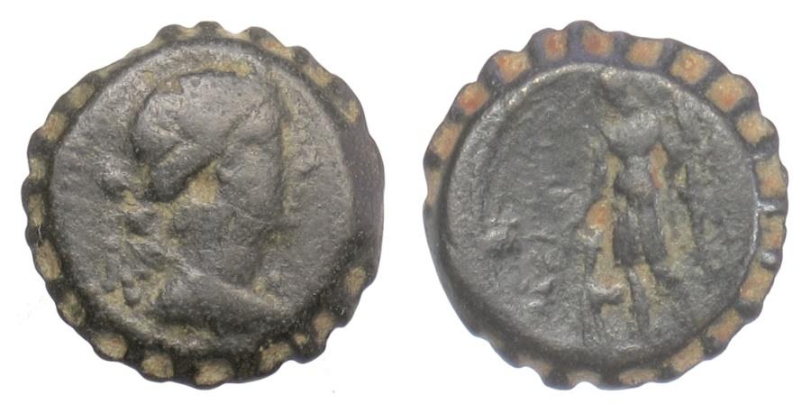 Ancient Coins - SELEUKID KINGS, Seleukos IV. Serrate AE denom C, Antioch mint, 187-175 BC. Artemis