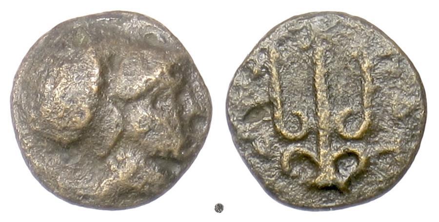 Ancient Coins - MACEDON, Poteidaia. AE 12, circa 400-356 BC. Athena / Ttrident. Scarce