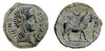 Ancient Coins - IBERIA, Kastilo. AE semis, mid 2nd century BC. Laureate head / Bull