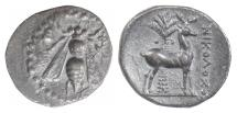 Ancient Coins - IONIA, Ephesos, AR drachm, circa 202-150 BC. Bee / Stag