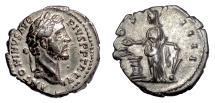 Ancient Coins - Antoninus Pius. AR Denarius, Rome mint, struck 147-148 AD. Salus feeding a snake