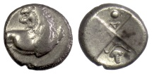 Ancient Coins - THRACE, Chersonesos. AR Hemidrachm, circa 386-338 BC. Lion / Incuse (grape bunch)