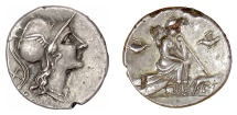 Ancient Coins - Roman Republic. Foureé denarius. Roma helmeted / Roma seated on pile of shields