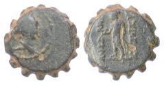 Ancient Coins - SELEUKID KINGS, Demetrios I. AE serrate denom D, Antioch, 162-150 BC. Scarce