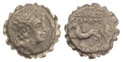 Ancient Coins - SELEUKID KINGS, Antiochos VI. Serrate AE denom C. Antioch, 144-142 BC. Scarce