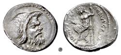 Ancient Coins - Roman Republic, C. Vibius Pansa. AR Denarius, Rome mint, 48 BC.  Pan / Jupiter