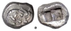 Ancient Coins - Kings of Lydia, CYRUS - DARIOS I.  AR Siglos, Sardes mint, circa 550-520 BC.  Lion & bull