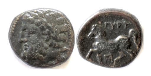 Ancient Coins - THESSALY. Gyrton. AE trichalkon, circa 350-300 BC