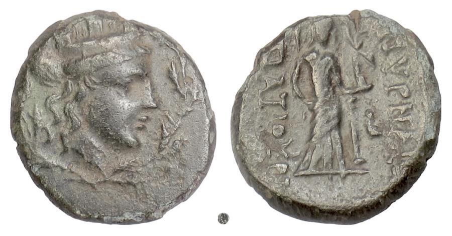 Ancient Coins - Ionia, Smyrna. AE 18, circa 75-50 BC. Tyche / Aphrodite