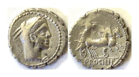 Ancient Coins - Roman Republic, L. Procilius. AR serrate denarius, Rome mint. 80 BC