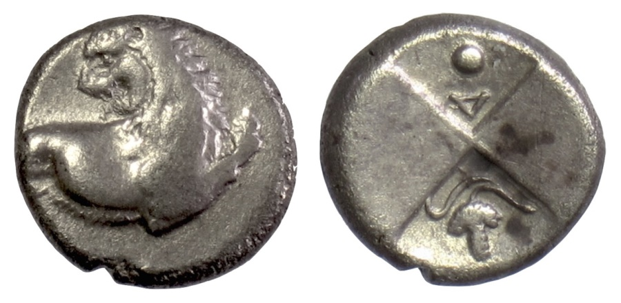 Ancient Coins - THRACE, Chersonesos. AR Hemidrachm, circa 386-338 BC. Lion / Incuse (grape bunch)