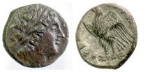 Ancient Coins - SICILY, Syracuse. Hiketas II. AE litra, struck circa 283-279 BC. Zeus / Eagle
