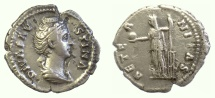 Ancient Coins - Diva Faustina Senior. AR denarius. Rome mint, struck circa 147. Fortuna