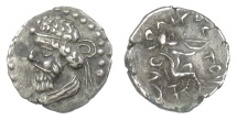 Parthia/Persis, Vologases I. AR Diobol, uncertain mint (in Persis?), 51-78 AD. SCARCE. Ex Sellwood