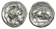 Ancient Coins - LUCANIA, Thourioi. AR Nomos, circa 400-350 BC. Athena / Bull. OVERSTRIKE