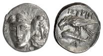 MOESIA, Istros. AR Quarter Drachm, 4th century BC. Facing heads / Eagle on dolphin