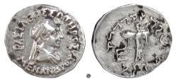 Ancient Coins - Baktria, MENANDER I SOTER.  AR drachm, circa 155-130 BC. Athena