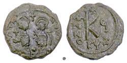 Ancient Coins - BYZANTINE, Justin II with Sophia. AE Half Follis. Cyzicus mint, 570/571 AD