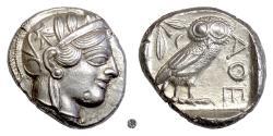 Ancient Coins - Attica, ATHENS.  AR Tetradrachm, circa 454-404 BC.  Athena / Owl