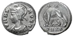 Ancient Coins - URBS ROMA. AE, Cyzicus mint, 331-334 AD. Head of Roma / Wolf suckling twins