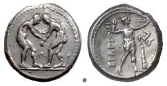 Ancient Coins - PISIDIA, Selge. AR stater, circa 325-250 BC. Two wrestlers / Slinger