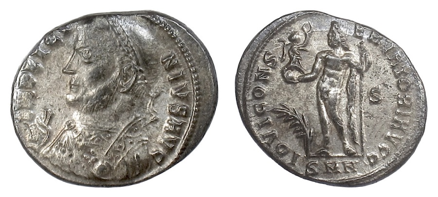 Ancient Coins - Licinius I. AE Follis, Nicomedia, 317-320 AD. Jupiter holding Victory.  Mostly silvered