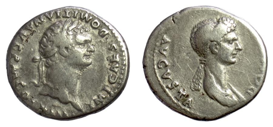 Ancient Coins - Domitian and Domitia. AR cistophoric tetradrachm, circa AD 82