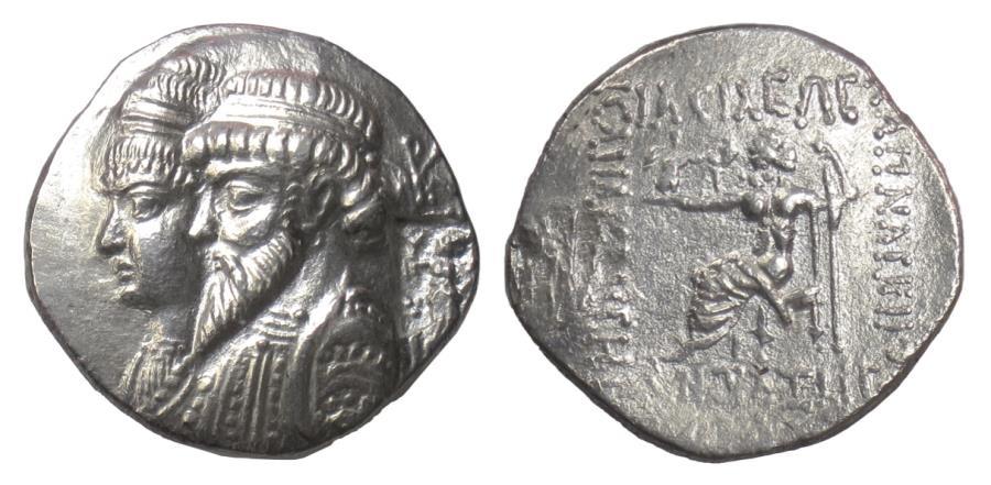 Ancient Coins - ELYMAIS, Kamnaskires III, with Anzaze. AR tetradrachm, Seleukeia on the Hedyphon, ca 82-72 BC