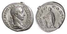 Ancient Coins - SEVERUS ALEXANDER. AR denarius, Rome mint, 227 AD. Alexander sacrificing at altar