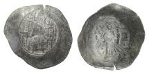 Ancient Coins - BYZANTINE, Isaac II Angelus. BI Aspron Trachy, Constantinople mint. Virgin Mary