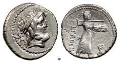Ancient Coins - Roman Republic, L. Procilius. AR denarius, Rome mint, 80 BC.  Jupiter / Juno