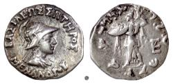Ancient Coins - BAKTRIA, Menander I Soter. AR drachm, circa 155-130 BC. Menander / Athena