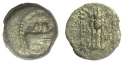 Ancient Coins - SELEUKID KINGS, Alexander II Zabinas. AE denomination C, Antioch mint. RARE. 128-122 BC. Prow / tripod