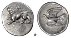 Ancient Coins - Sikyonia, SIKYON. AR Hemidrachm, circa 330-280 BC.  Chimaera / Dove