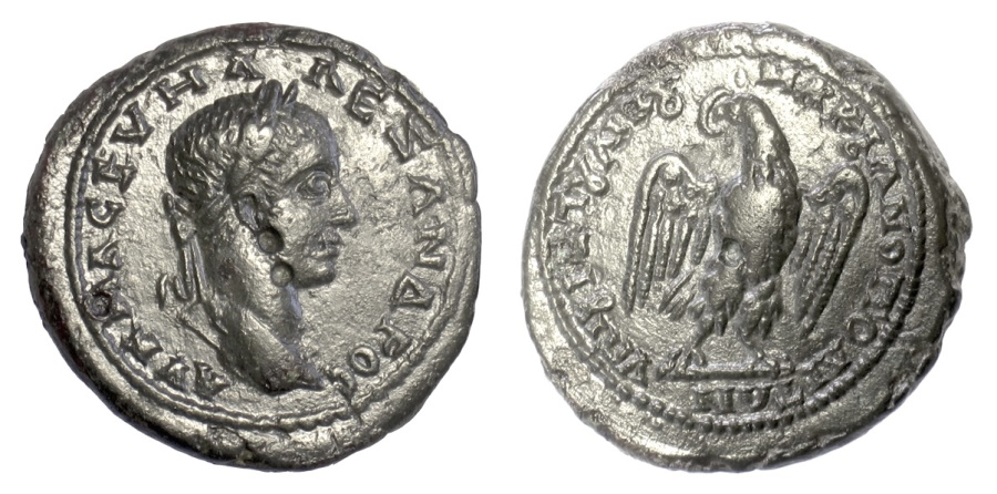 Ancient Coins - Severus Alexander. MOESIA INFERIOR, Marcianopolis. AE 26 mm.  Laurreate head / Eagle