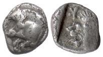 Ancient Coins - MYSIA, Kyzikos. AR obol, circa 525-475 BC. Boar / Roaring Lion