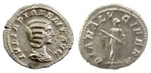 Ancient Coins - Julia Domna. AR Denarius. Rome mint. Struck under Caracalla, AD 211-215. Diana Lucifera