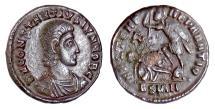 Ancient Coins - CONSTANTIUS GALLUS. AE 18, [Sirmium mint, (or imitative) circa 351-354 AD?]. Soldier spearing enemy