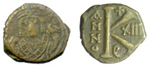 Ancient Coins - BYZANTINE EMPIRE, Maurice Tiberius. AE Half Follis. Theoupolis (Antioch) mint.  Dated RY 13 (594/5)