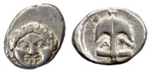 Ancient Coins - THRACE, Apollonia Pontika. AR Drachm, late 5th-4th centuries BC. Gorgonion / Anchor