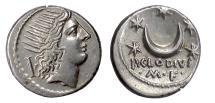 Ancient Coins - Roman Republic. AR denarius, struck under the Triumvirs, Rome, 42 BC.  Sol / Crescent moon